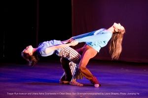 "Photo of dancers Trayer Run-Kowzun and Uttara Asha Coorlawala in ""Clear Skies, Sun Shining,"" choreographed by Laura Shapiro; photo by Jianqing Ye"